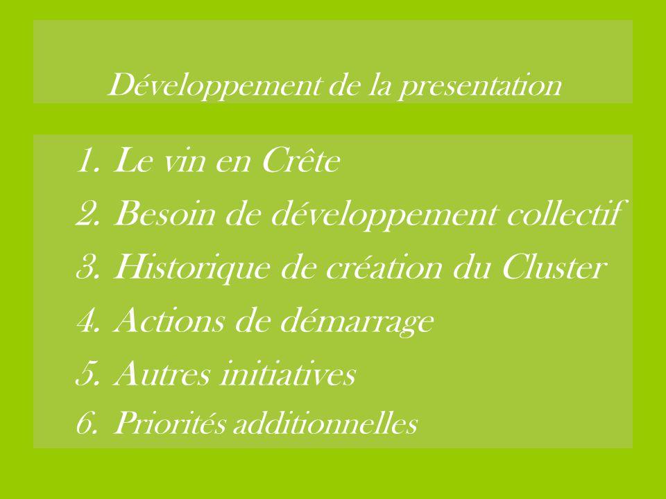 Développement de la presentation 1.Le vin en Crête 2.Besoin de développement collectif 3.Historique de création du Cluster 4.Actions de démarrage 5.Au
