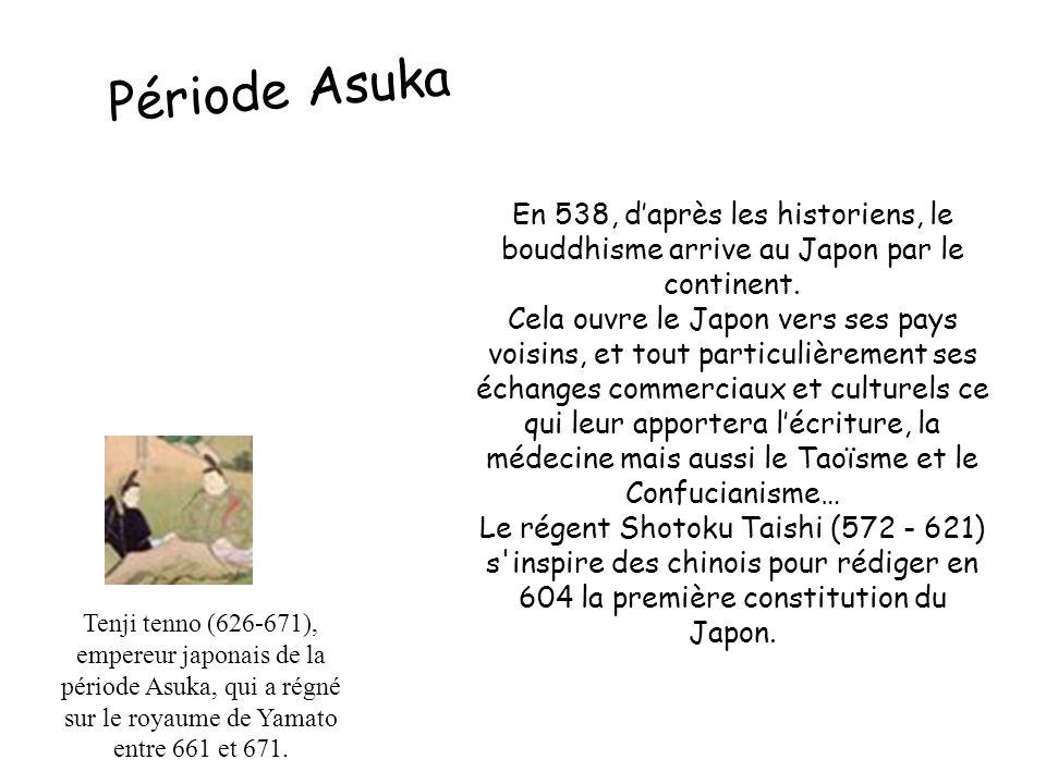 En 538, d'après les historiens, le bouddhisme arrive au Japon par le continent. Cela ouvre le Japon vers ses pays voisins, et tout particulièrement se