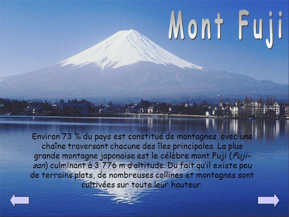 Environ 73 % du pays est constitué de montagnes, avec une chaîne traversant chacune des îles principales. La plus grande montagne japonaise est le cél