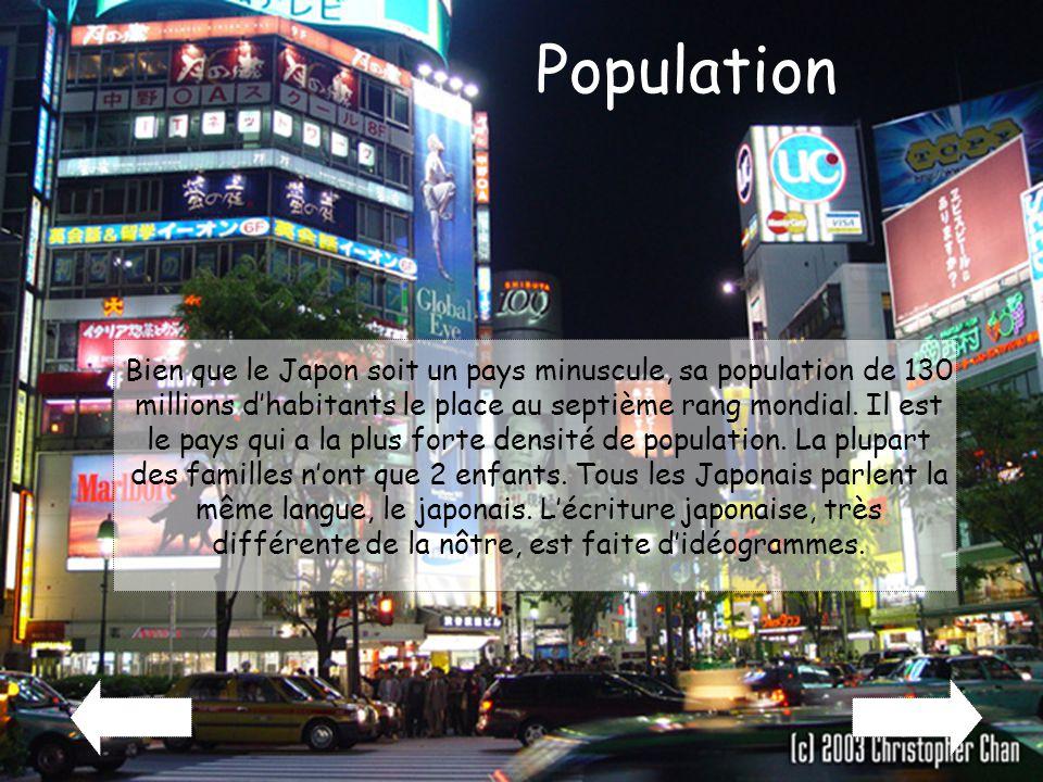 Population Bien que le Japon soit un pays minuscule, sa population de 130 millions d'habitants le place au septième rang mondial. Il est le pays qui a