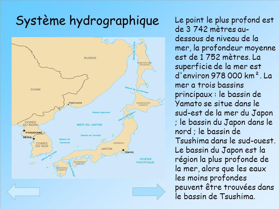 Le point le plus profond est de 3 742 mètres au- dessous de niveau de la mer, la profondeur moyenne est de 1 752 mètres. La superficie de la mer est d