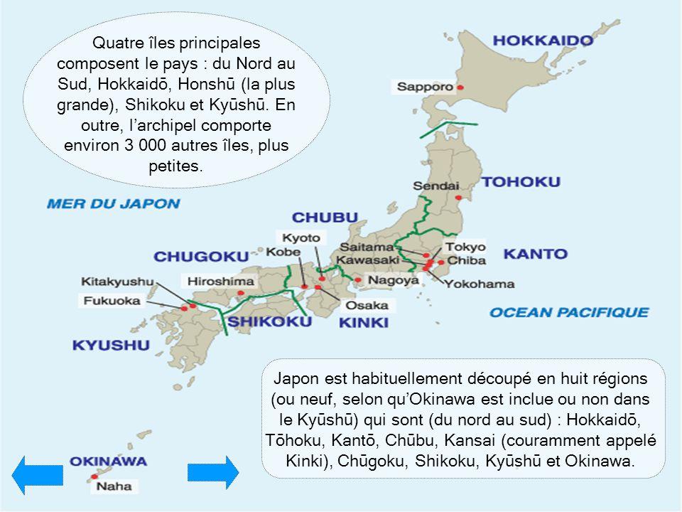 Japon est habituellement découpé en huit régions (ou neuf, selon qu'Okinawa est inclue ou non dans le Kyūshū) qui sont (du nord au sud) : Hokkaidō, Tō