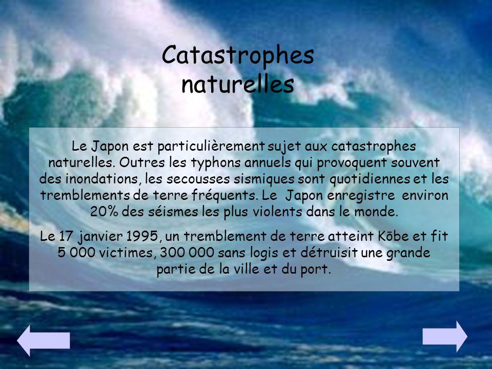 Catastrophes naturelles Le Japon est particulièrement sujet aux catastrophes naturelles. Outres les typhons annuels qui provoquent souvent des inondat