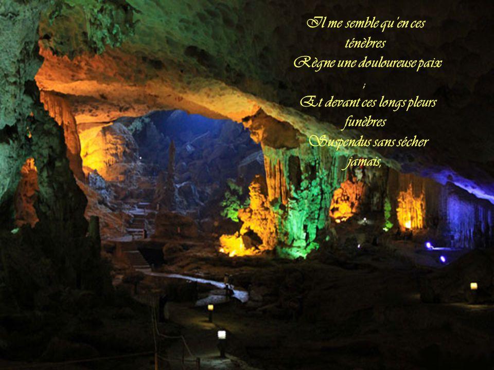 Les stalactites à la voûte Pendent en pleurs pétrifiés Dont l'humidité, goutte à goutte, Tombe lentement à mes pieds.