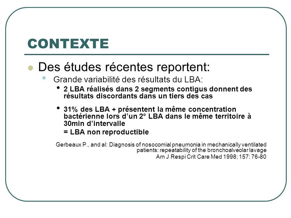 CONTEXTE  Des études récentes reportent: • Grande variabilité des résultats du LBA: • Imputabilité de la dilution du LBA • Nécessité de la mesurer • Afin de valider l'interprétation des résultats des cultures quantitatives bactériennes Zedtwitz-Liebenstein K, Schenk P, Apfalter P, Fuhrmann V, Stoiser B, Graninger W, Schuster E, Frass M, Burgmann H (2005) Ventilatorassociated pneumonia: increased bacterial counts in bronchoalveolar lavage by using urea as an endogenous marker of dilution.