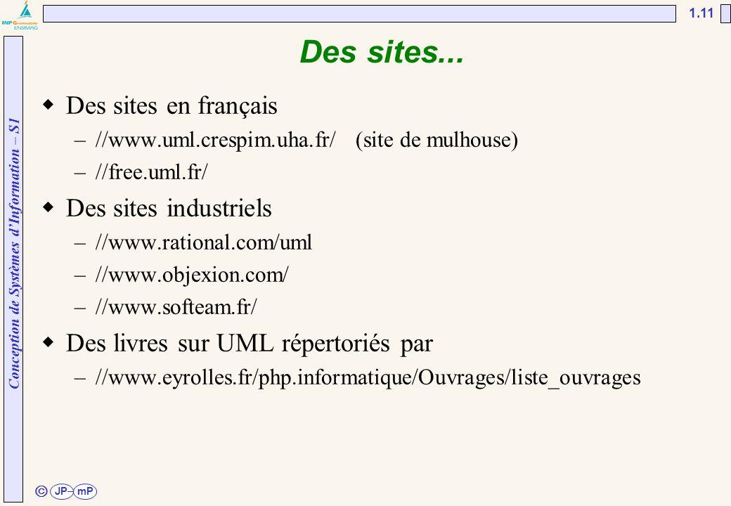 Conception de Systèmes d'Information – S1 JPmP 1.11 ã Des sites...  Des sites en français –//www.uml.crespim.uha.fr/ (site de mulhouse) –//free.uml.f
