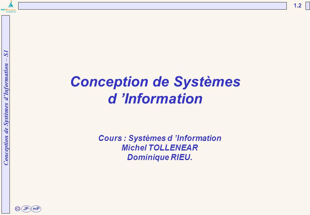 Conception de Systèmes d'Information – S1 JPmP 1.2 ã Conception de Systèmes d 'Information Cours : Systèmes d 'Information Michel TOLLENEAR Dominique