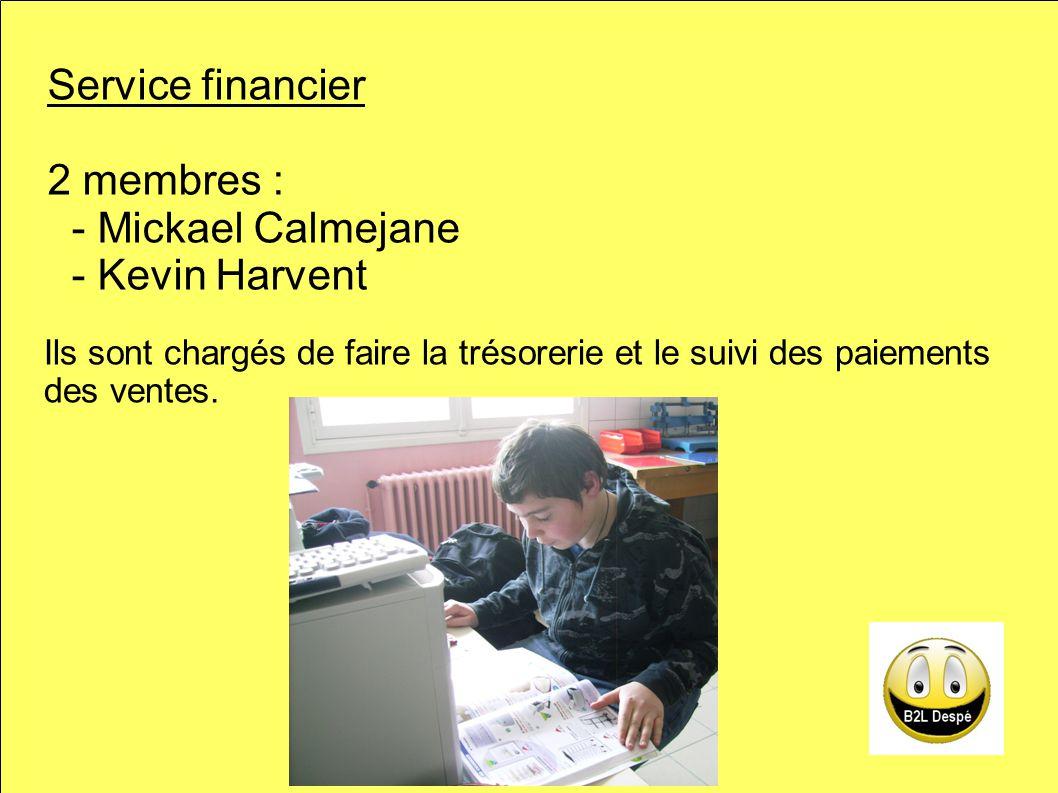Service financier 2 membres : - Mickael Calmejane - Kevin Harvent Ils sont chargés de faire la trésorerie et le suivi des paiements des ventes.