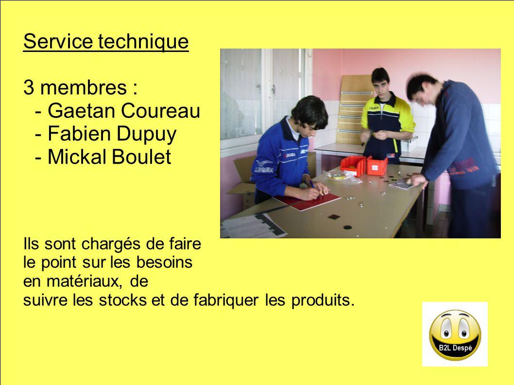 Service technique 3 membres : - Gaetan Coureau - Fabien Dupuy - Mickal Boulet Ils sont chargés de faire le point sur les besoins en matériaux, de suivre les stocks et de fabriquer les produits.