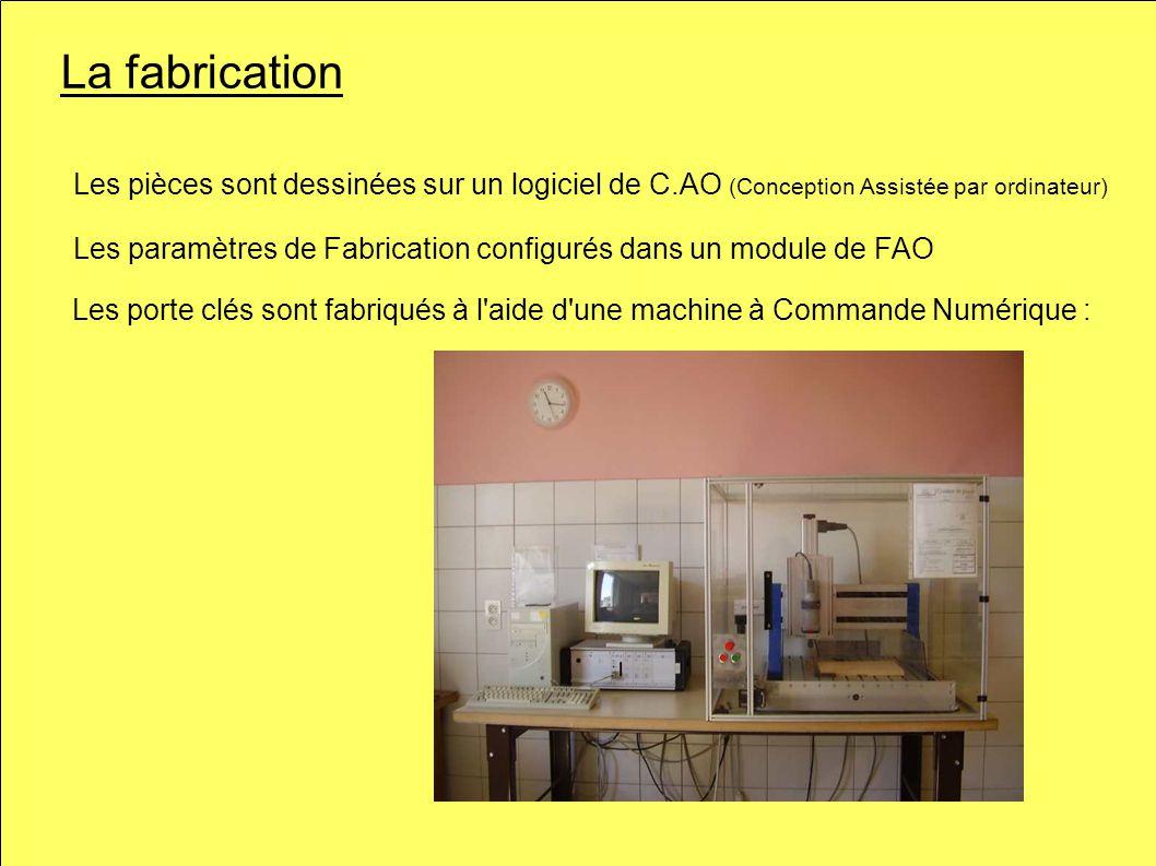 La fabrication Les porte clés sont fabriqués à l aide d une machine à Commande Numérique : Les pièces sont dessinées sur un logiciel de C.AO (Conception Assistée par ordinateur) Les paramètres de Fabrication configurés dans un module de FAO