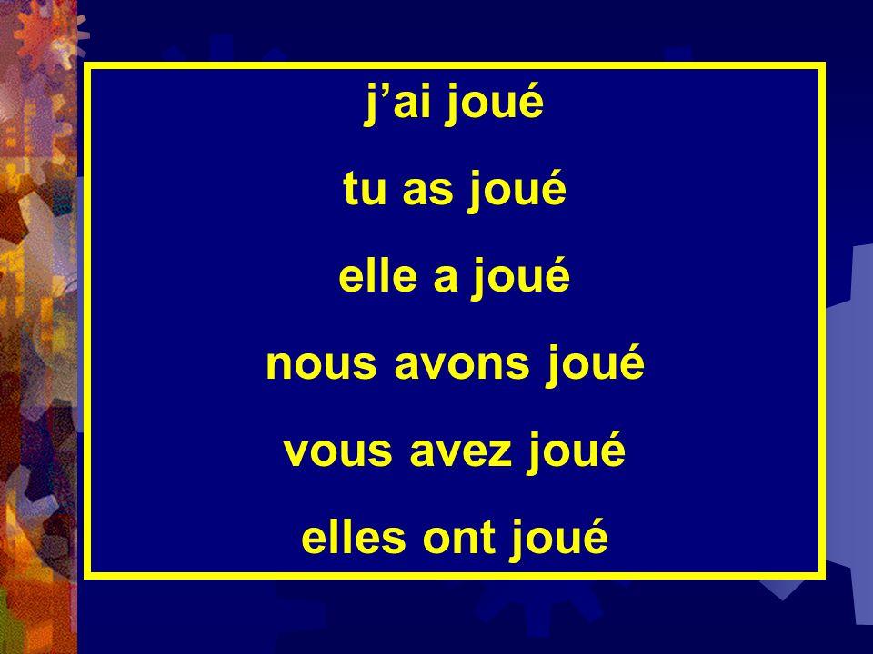 3U/4U Révision du verbe régulier  jouer  AU PRÉSENT  je jou  tu jou  elle/il/on jou  nous jou  vous jou  elles/ils jou