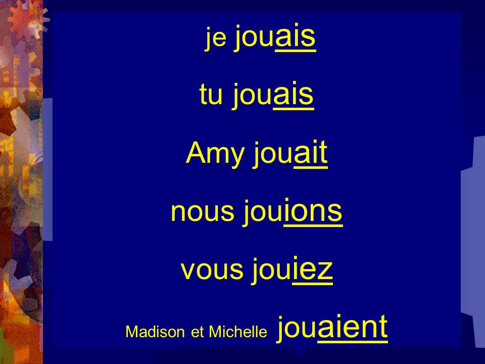 Pour former l'imparfait… jouons jou je jou ais tu jou ais Amy jou ait nous jou ions vous jou iez Madison et Michelle jou aient