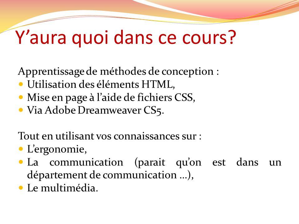 Y'aura quoi dans ce cours? Apprentissage de méthodes de conception :  Utilisation des éléments HTML,  Mise en page à l'aide de fichiers CSS,  Via A