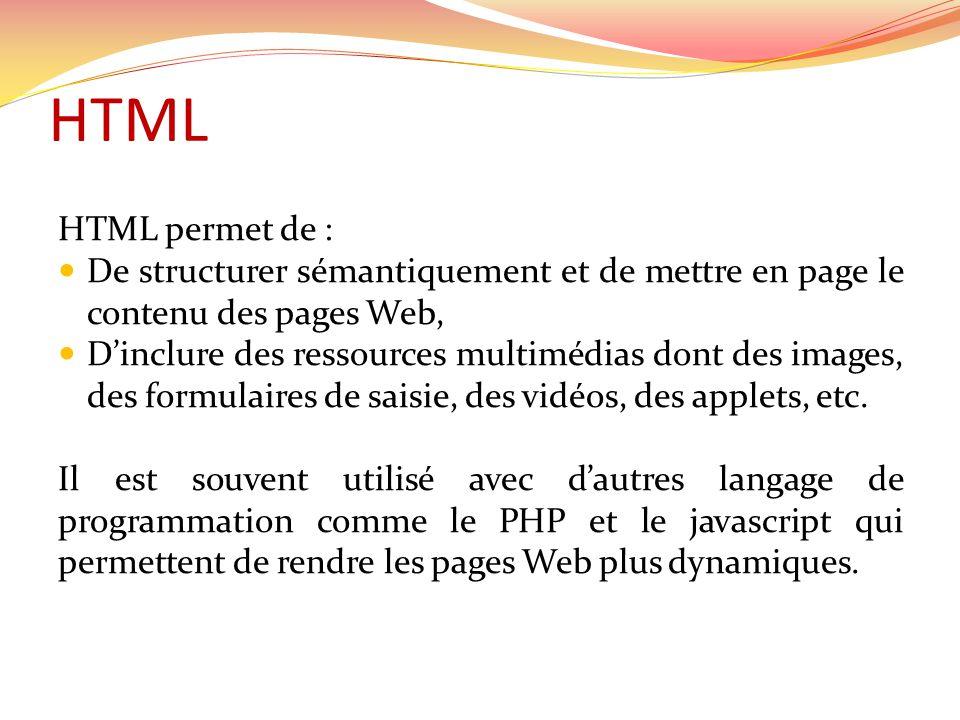 HTML HTML permet de :  De structurer sémantiquement et de mettre en page le contenu des pages Web,  D'inclure des ressources multimédias dont des images, des formulaires de saisie, des vidéos, des applets, etc.