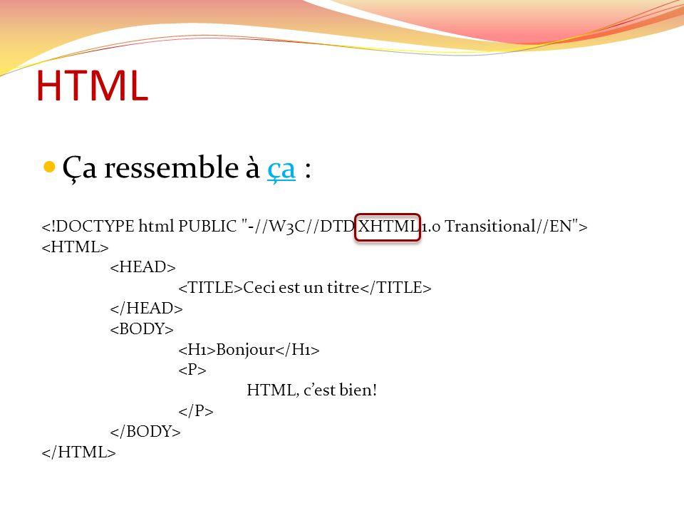 HTML  Ça ressemble à ça :ça Ceci est un titre Bonjour HTML, c'est bien!