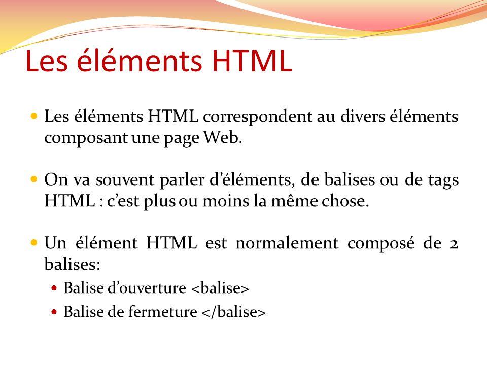 Les éléments HTML  Les éléments HTML correspondent au divers éléments composant une page Web.