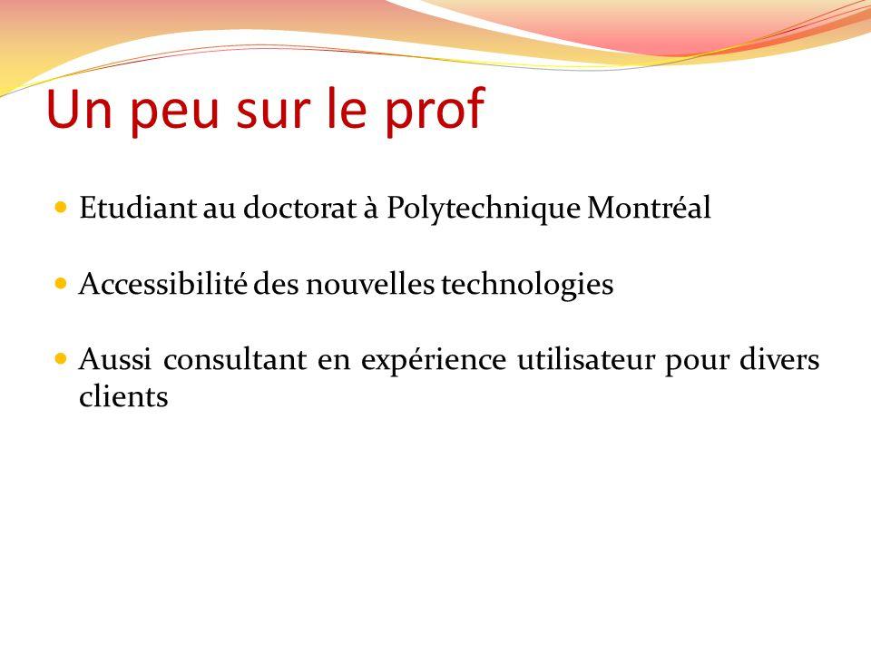 Un peu sur le prof  Etudiant au doctorat à Polytechnique Montréal  Accessibilité des nouvelles technologies  Aussi consultant en expérience utilisateur pour divers clients