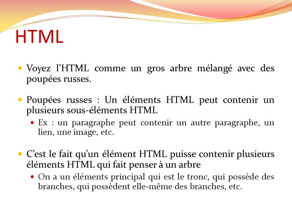 HTML  Voyez l'HTML comme un gros arbre mélangé avec des poupées russes.  Poupées russes : Un éléments HTML peut contenir un plusieurs sous-éléments