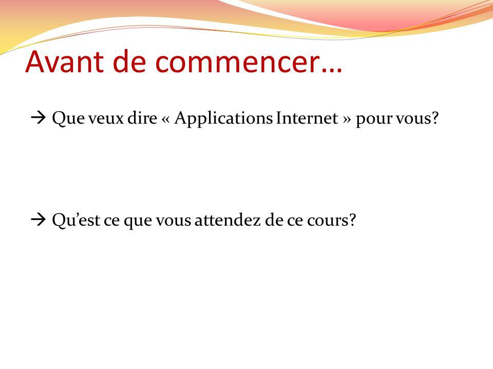 Avant de commencer…  Que veux dire « Applications Internet » pour vous?  Qu'est ce que vous attendez de ce cours?