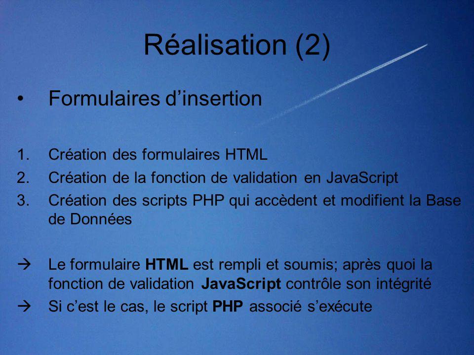 Réalisation (2) •Formulaires d'insertion 1.Création des formulaires HTML 2.Création de la fonction de validation en JavaScript 3.Création des scripts PHP qui accèdent et modifient la Base de Données  Le formulaire HTML est rempli et soumis; après quoi la fonction de validation JavaScript contrôle son intégrité  Si c'est le cas, le script PHP associé s'exécute