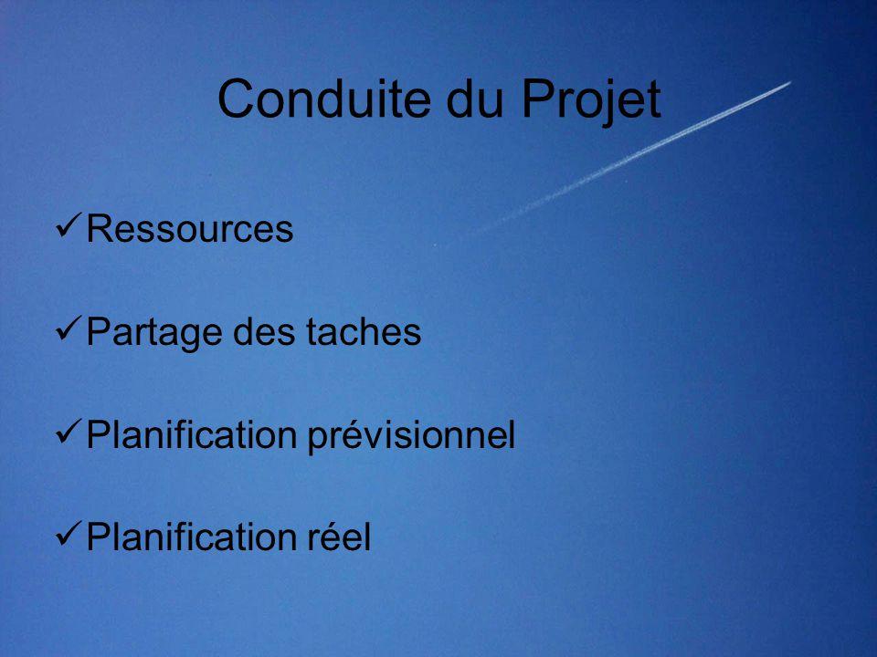 Conduite du Projet  Ressources  Partage des taches  Planification prévisionnel  Planification réel