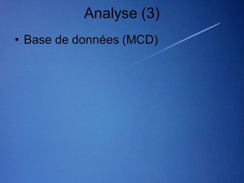 Analyse (3) •Base de données (MCD)