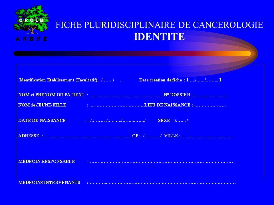 REUNIONS PLURIDISCIPLINAIRES DE CANCEROLOGIE FICHE PLURIDISCIPLINAIRE DE CANCEROLOGIE