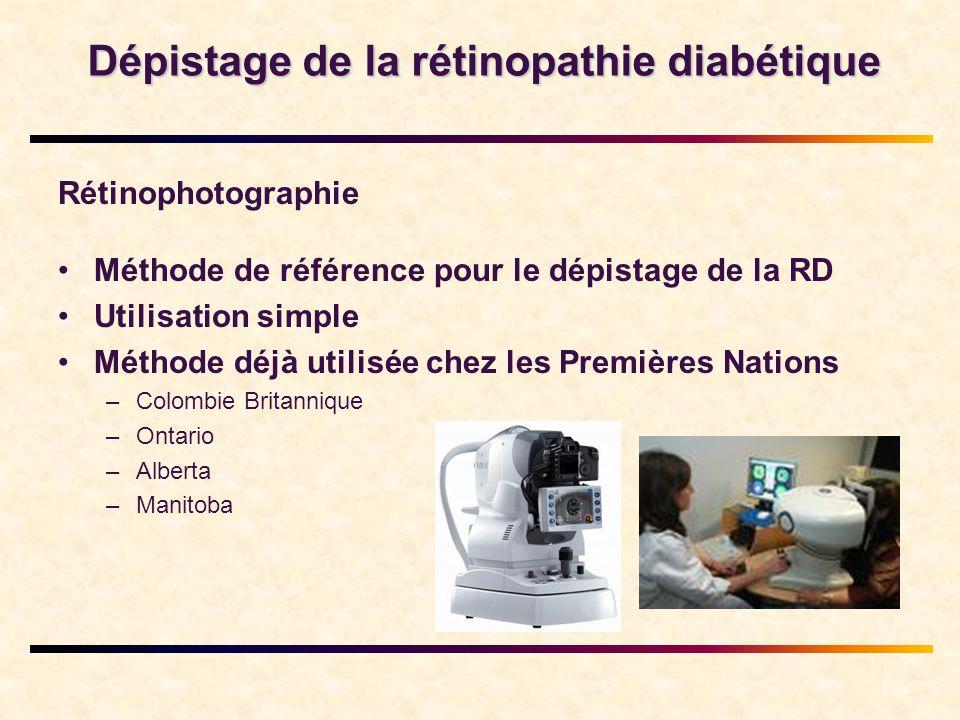 Dépistage de la rétinopathie diabétique Rétinophotographie •Méthode de référence pour le dépistage de la RD •Utilisation simple •Méthode déjà utilisée chez les Premières Nations –Colombie Britannique –Ontario –Alberta –Manitoba