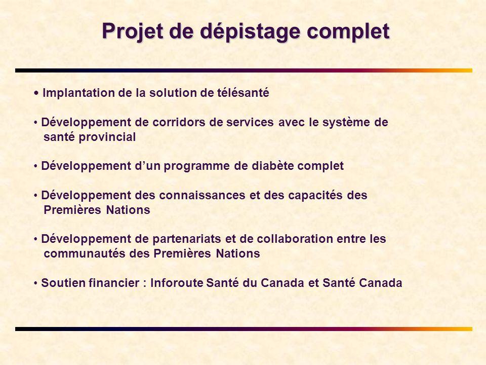 Projet de dépistage complet • Implantation de la solution de télésanté • Développement de corridors de services avec le système de santé provincial • Développement d'un programme de diabète complet • Développement des connaissances et des capacités des Premières Nations • Développement de partenariats et de collaboration entre les communautés des Premières Nations • Soutien financier : Inforoute Santé du Canada et Santé Canada