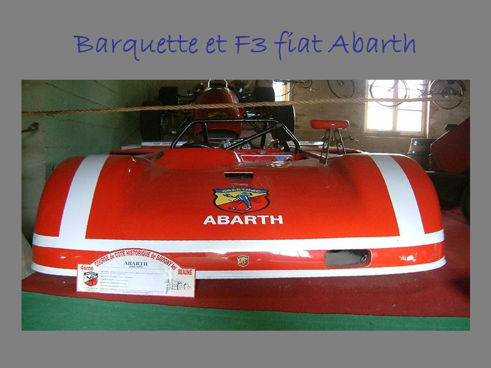Barquette et F3 fiat Abarth