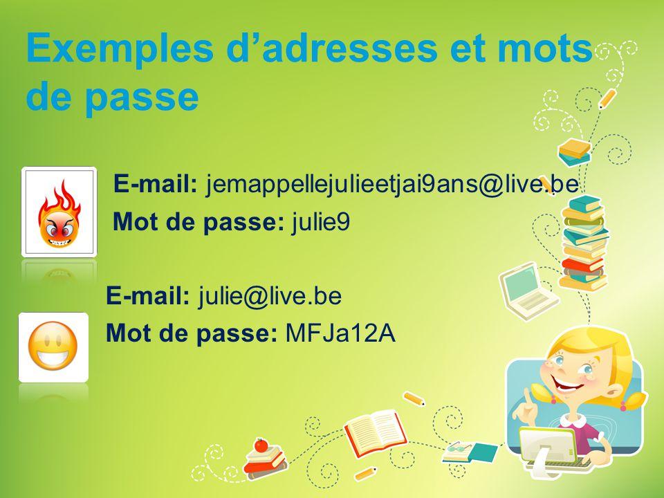 Exemples d'adresses et mots de passe E-mail: jemappellejulieetjai9ans@live.be Mot de passe: julie9 E-mail: julie@live.be Mot de passe: MFJa12A