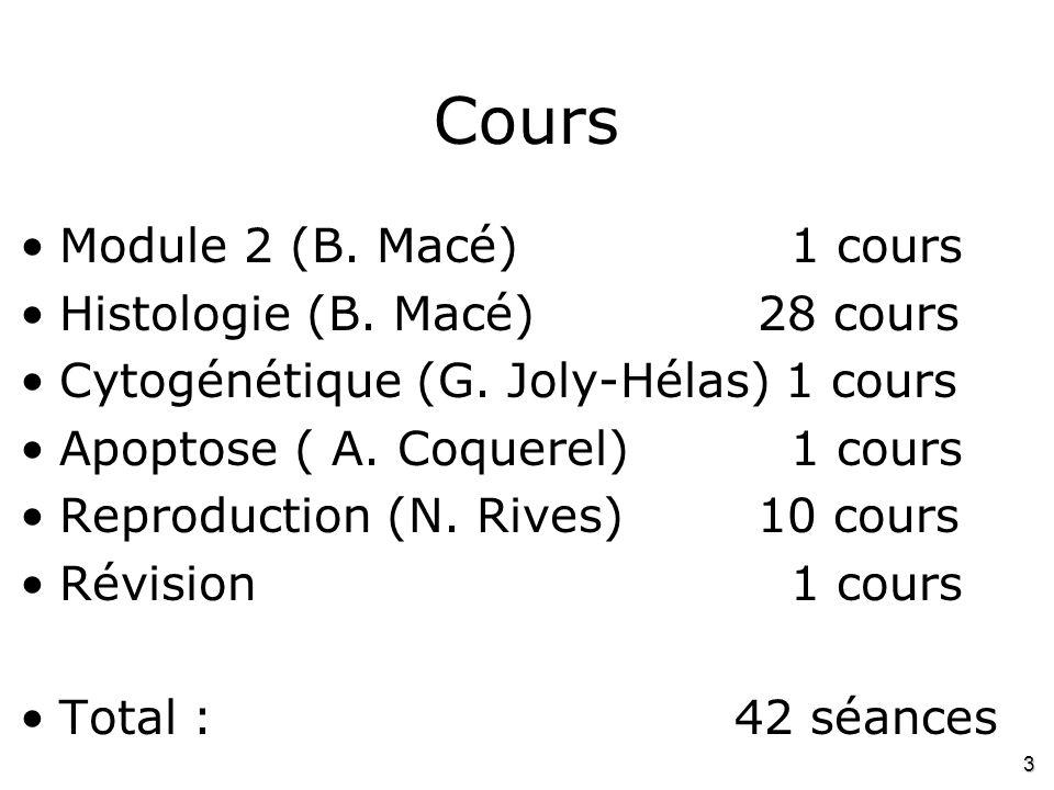3 Cours •Module 2 (B. Macé) 1 cours •Histologie (B. Macé)28 cours •Cytogénétique (G. Joly-Hélas) 1 cours •Apoptose ( A. Coquerel) 1 cours •Reproductio