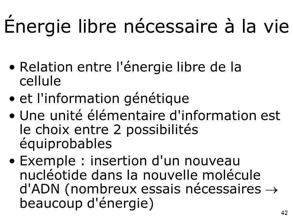 42 Énergie libre nécessaire à la vie •Relation entre l'énergie libre de la cellule •et l'information génétique •Une unité élémentaire d'information es