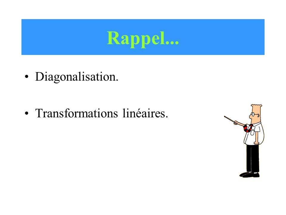 Rappel... •Diagonalisation. •Transformations linéaires.