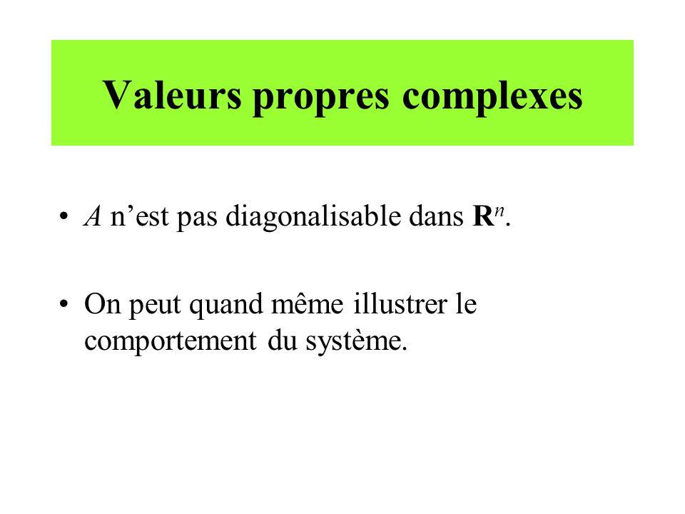 Valeurs propres complexes •A n'est pas diagonalisable dans R n. •On peut quand même illustrer le comportement du système.