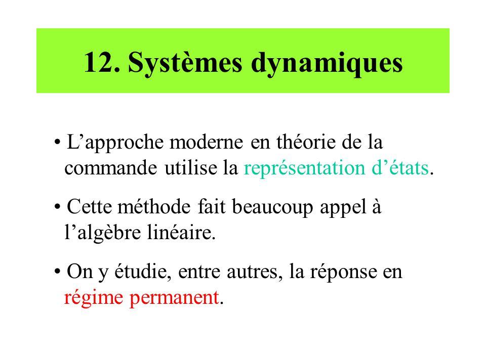 12. Systèmes dynamiques • L'approche moderne en théorie de la commande utilise la représentation d'états. • Cette méthode fait beaucoup appel à l'algè