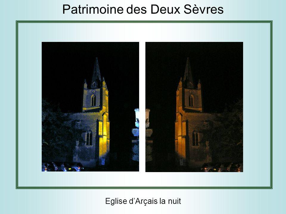 Eglise d'Arçais la nuit Patrimoine des Deux Sèvres