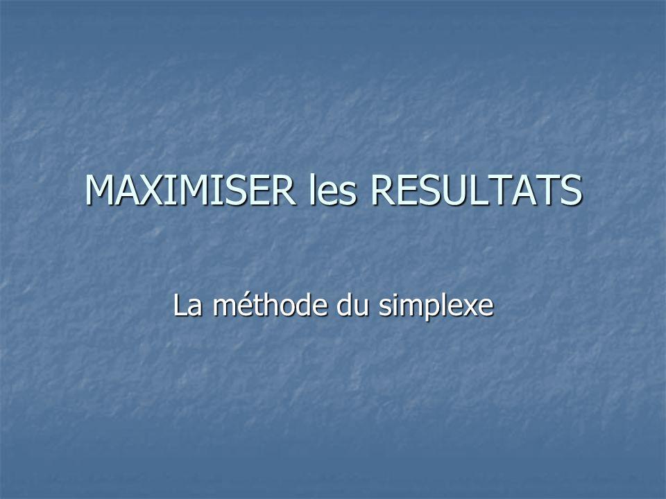 MAXIMISER les RESULTATS La méthode du simplexe