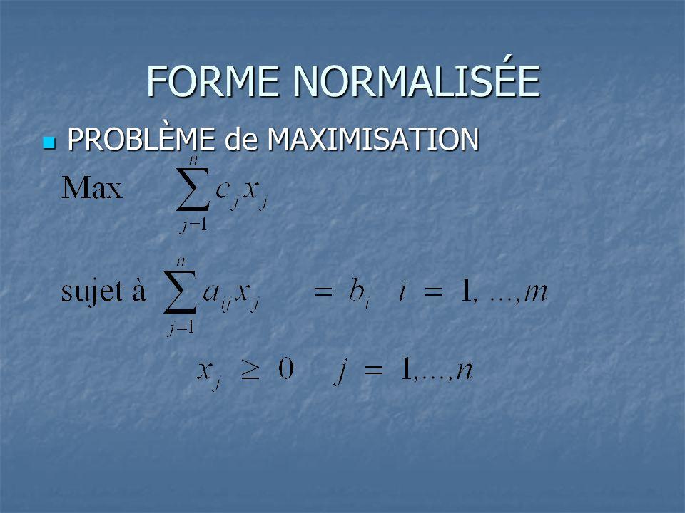 FORME NORMALISÉE  PROBLÈME de MAXIMISATION