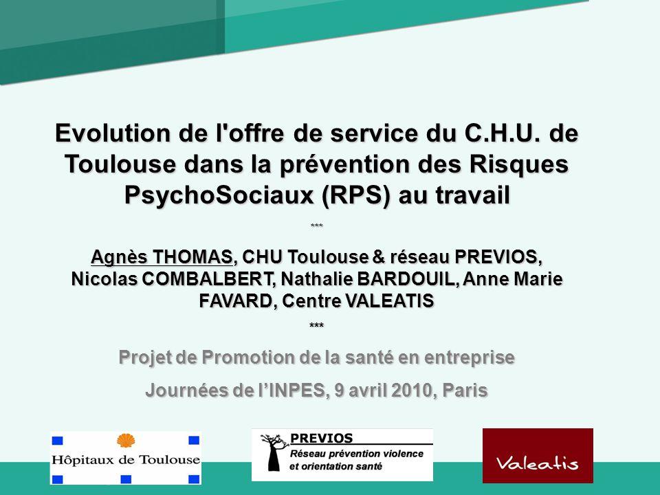 Logo Evolution de l'offre de service du C.H.U. de Toulouse dans la prévention des Risques PsychoSociaux (RPS) au travail *** Agnès THOMAS, CHU Toulous