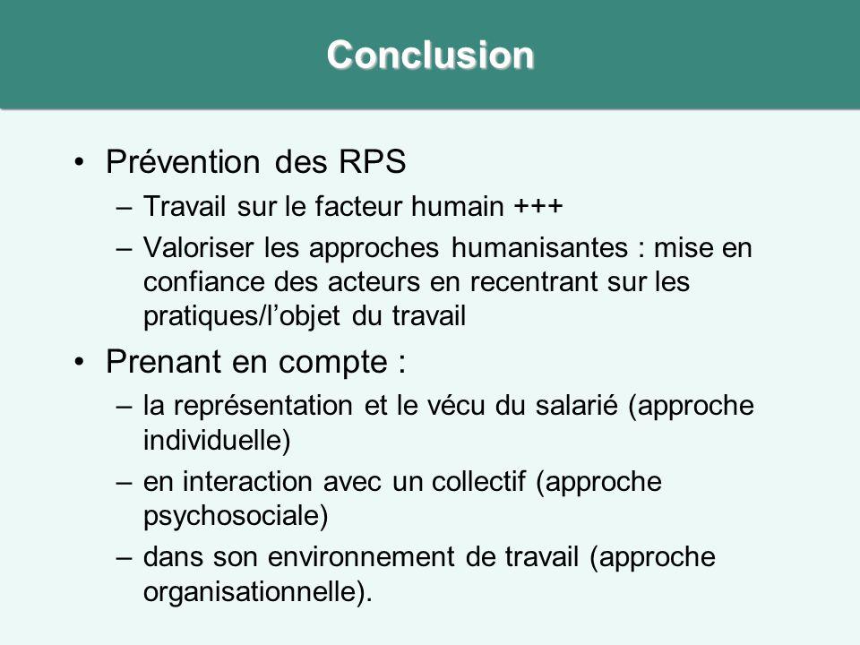 •Prévention des RPS –Travail sur le facteur humain +++ –Valoriser les approches humanisantes : mise en confiance des acteurs en recentrant sur les pra