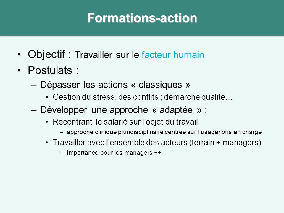 Formations-action •Objectif : Travailler sur le facteur humain •Postulats : –Dépasser les actions « classiques » •Gestion du stress, des conflits ; dé