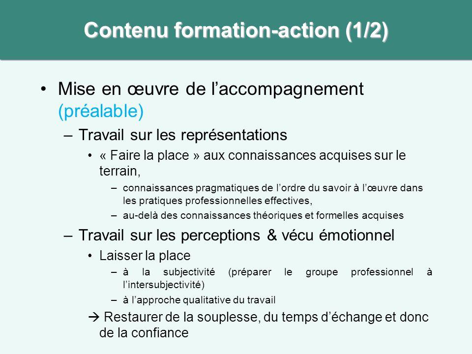 •Mise en œuvre de l'accompagnement (préalable) –Travail sur les représentations •« Faire la place » aux connaissances acquises sur le terrain, –connai