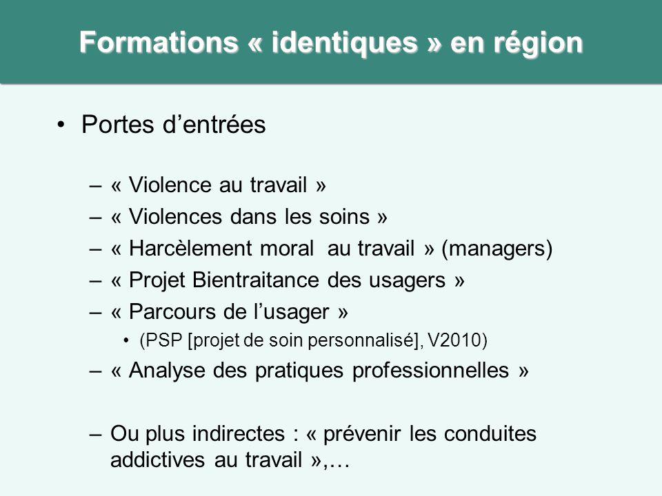 •Portes d'entrées –« Violence au travail » –« Violences dans les soins » –« Harcèlement moral au travail » (managers) –« Projet Bientraitance des usag