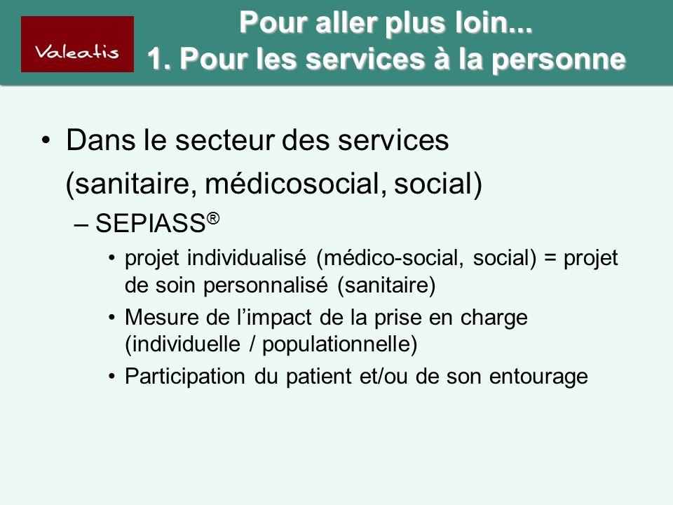 Pour aller plus loin... 1. Pour les services à la personne •Dans le secteur des services (sanitaire, médicosocial, social) –SEPIASS ® •projet individu
