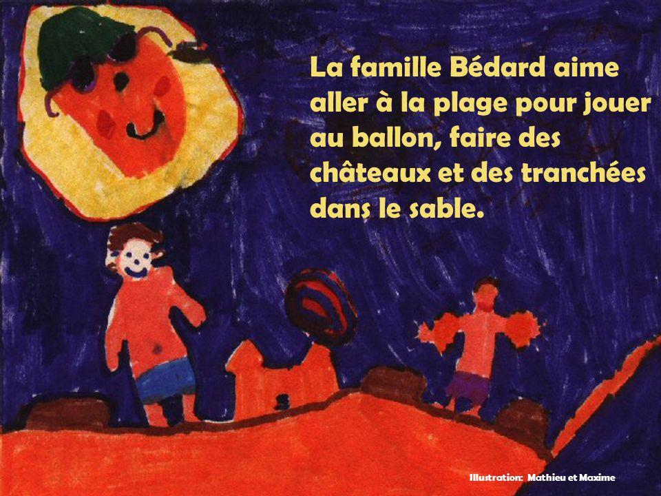 La famille Bédard aime aller à la plage pour jouer au ballon, faire des châteaux et des tranchées dans le sable. Illustration: Mathieu et Maxime