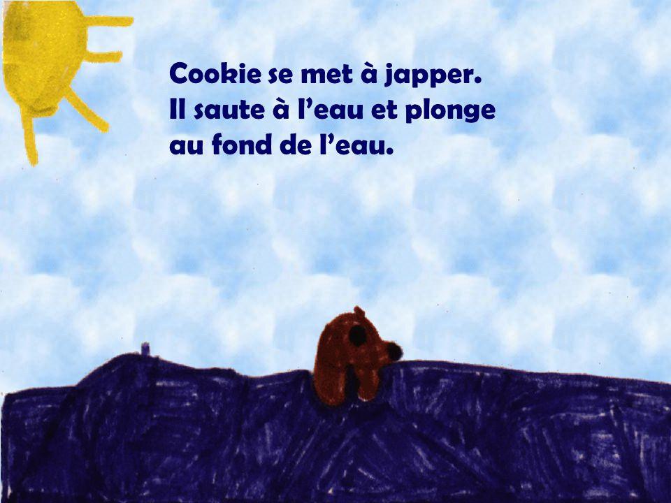 Cookie se met à japper. Il saute à l'eau et plonge au fond de l'eau. Illustration: Raphaëlle