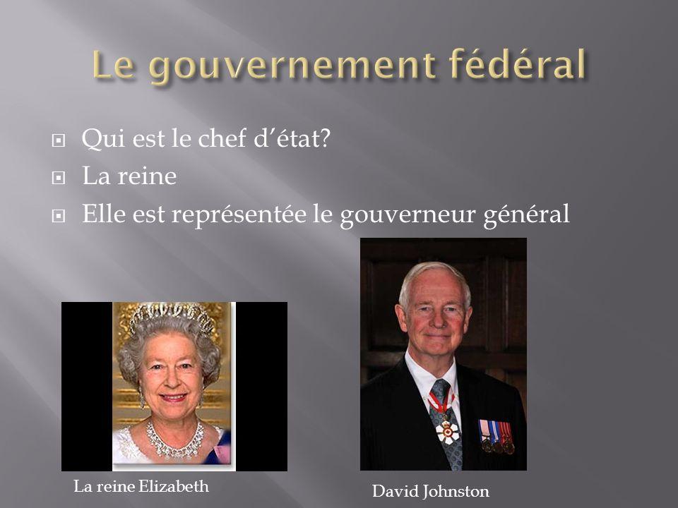  Qui est le chef d'état?  La reine  Elle est représentée le gouverneur général David Johnston La reine Elizabeth