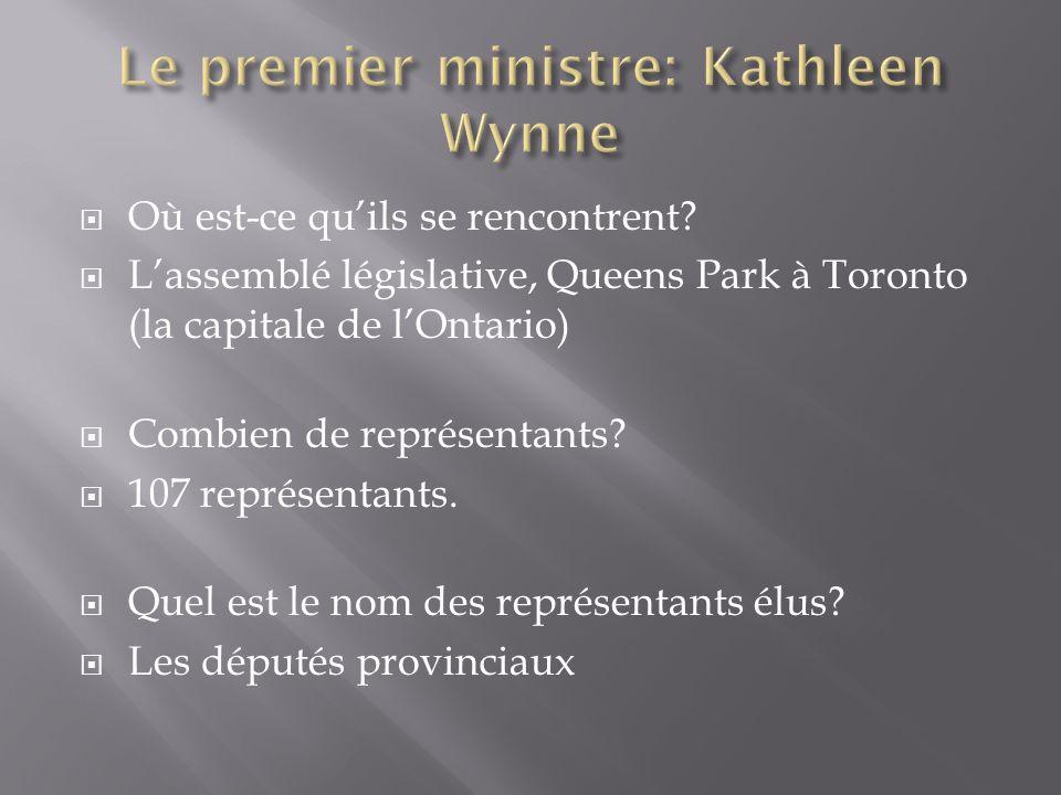  Où est-ce qu'ils se rencontrent?  L'assemblé législative, Queens Park à Toronto (la capitale de l'Ontario)  Combien de représentants?  107 représ