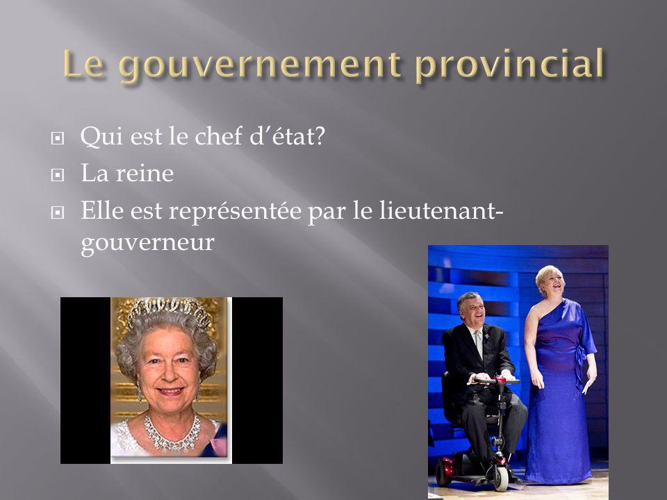  Qui est le chef d'état?  La reine  Elle est représentée par le lieutenant- gouverneur
